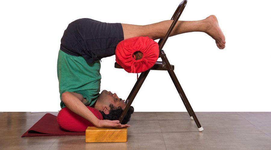 Chair Halasana using Bolster